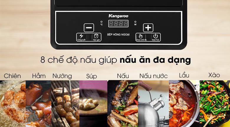 Bếp hồng ngoại Kangaroo KG20IFP1 - 8 chế độ nấu cho bạn tùy chọn theo công thức, nguyên liệu chuẩn bị
