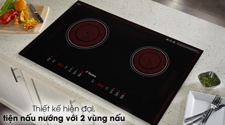 Bếp hồng ngoại đôi Torino TC0418C - Bếp hồng ngoại Torino thiết kế hiện đại, tinh tế, màu đen thanh lịch
