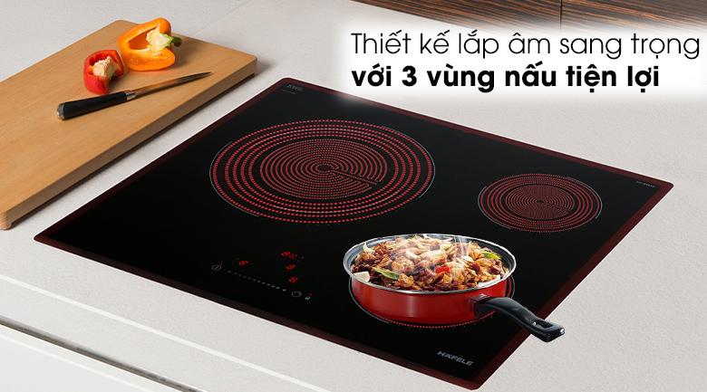 Thiết kế lắp âm Bếp hồng ngoại 3 vùng nấu Hafele HC-R603D