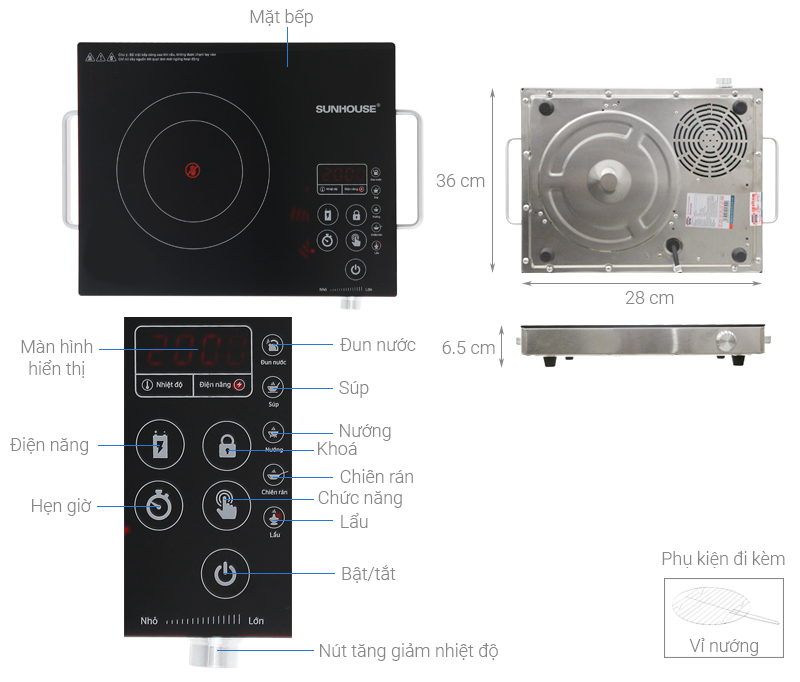 Thông số kỹ thuật Bếp hồng ngoại Sunhouse SHD 6017
