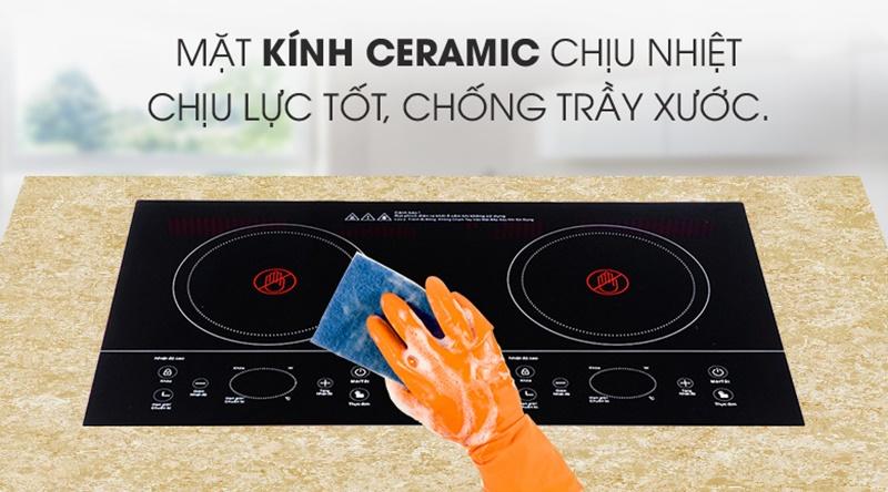 Mặt kính Ceramic cao cấp có độ bền cao - Bếp hồng ngoại đôi Sanaky SNK-201HGW