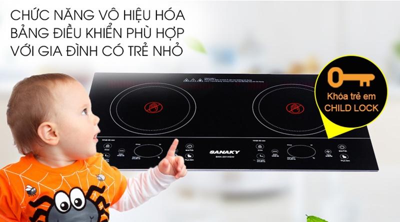Khóa bảng điều khiển giúp quá trình nấu của bếp sẽ không bị gián đoạn - Bếp hồng ngoại đôi Sanaky SNK-201HGW