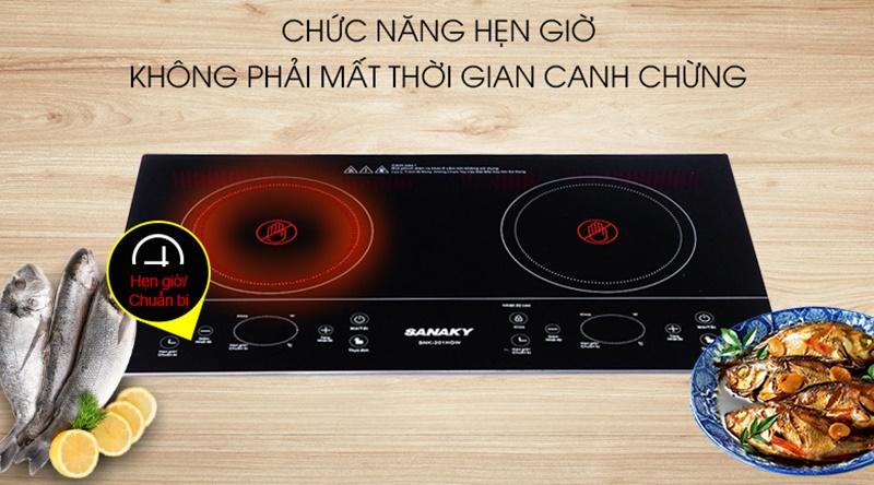 Chế độ hẹn giờ nấu tiện dụng - Bếp hồng ngoại đôi Sanaky SNK-201HGW