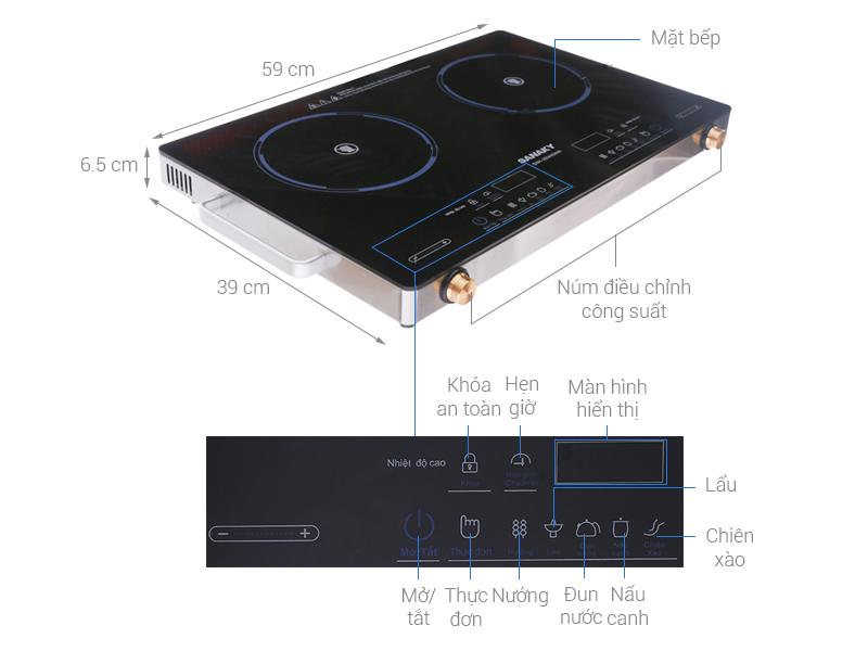 Thông số kỹ thuật Bếp hồng ngoại đôi Sanaky SNK-203HGNW