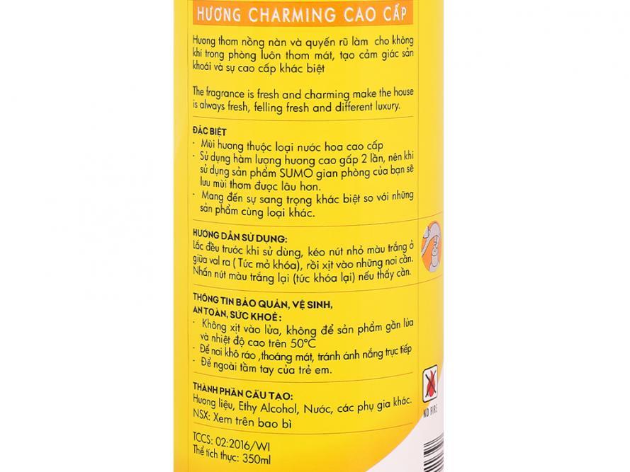 Nước hoa xịt phòng Sumo hương charming cao cấp 350ml 5