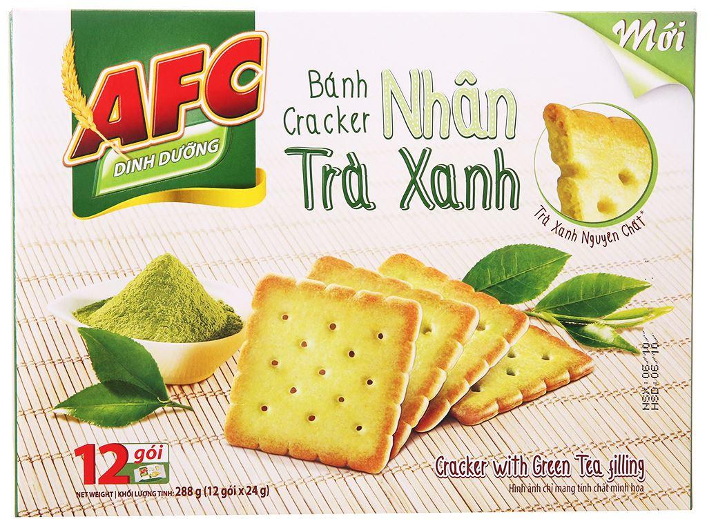 Bánh cracker nhân trà xanh AFC Dinh Dưỡng hộp 288g 1