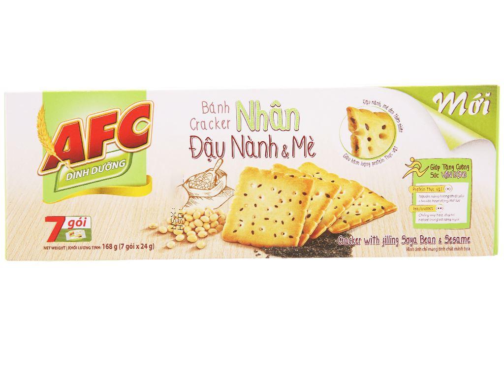 Bánh cracker nhân đậu nành và mè AFC Dinh Dưỡng hộp 168g 1