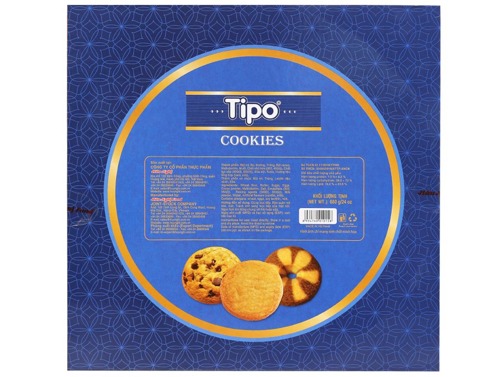 Bánh quy bơ cacao Tipo Cookies hộp 680g 6