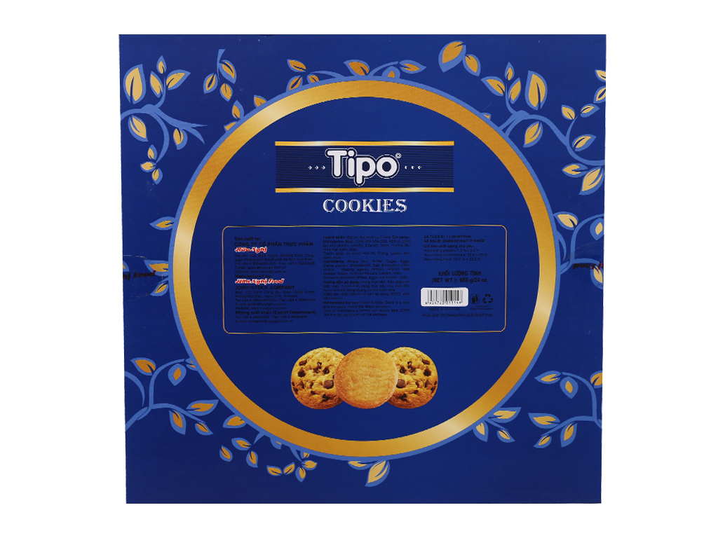 Bánh quy bơ cacao Tipo Cookies hộp 680g 4