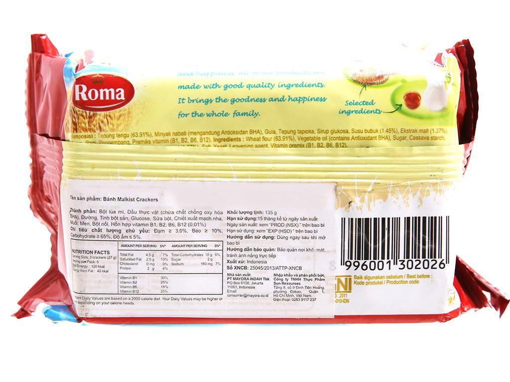 Bánh Malkist Crackers Roma gói 135g 2