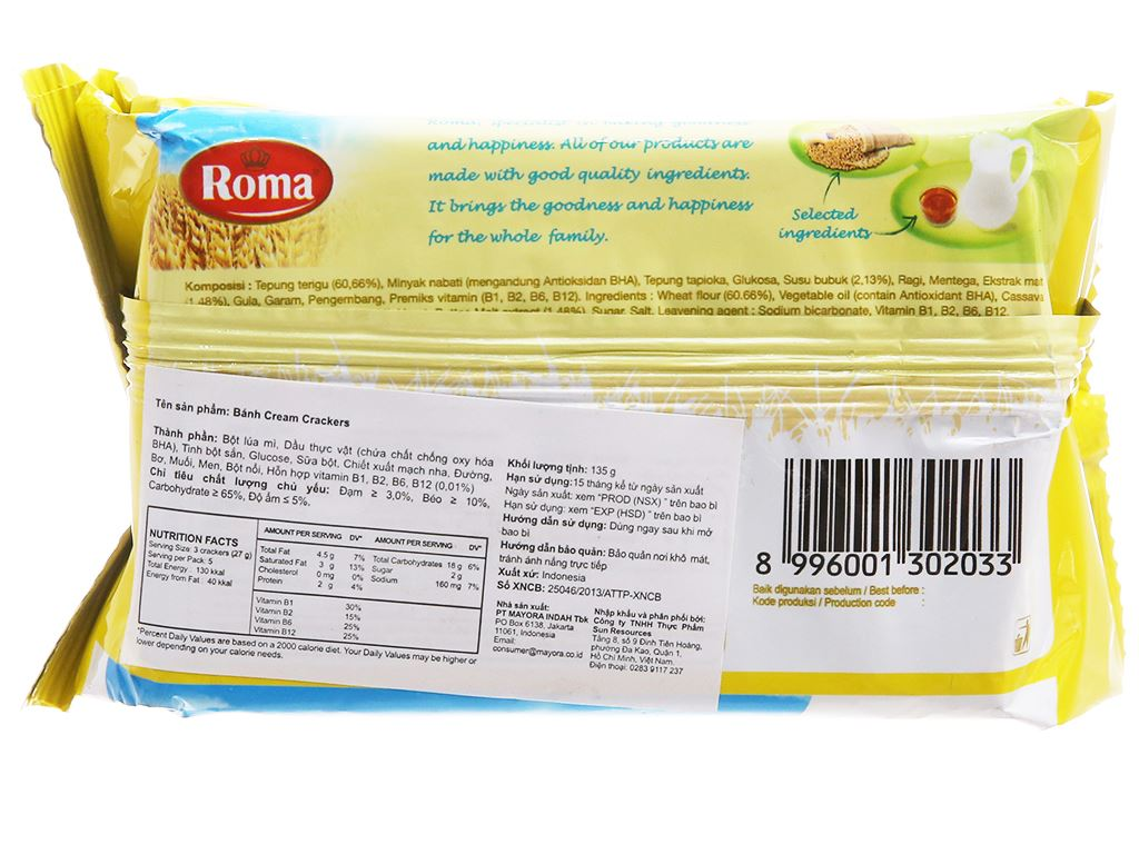 Bánh Cream Crackers Roma gói 135g 2
