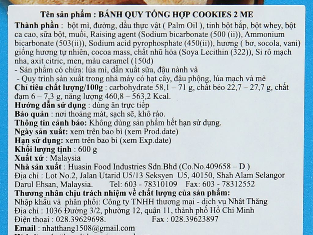 Bánh quy tổng hợp Samudra 2 Me hộp 600g 4