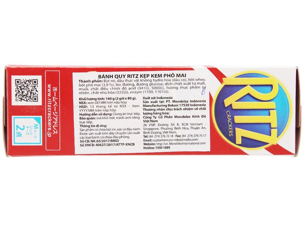 Bánh quy kẹp kem phô mai Ritz hộp 160g 3