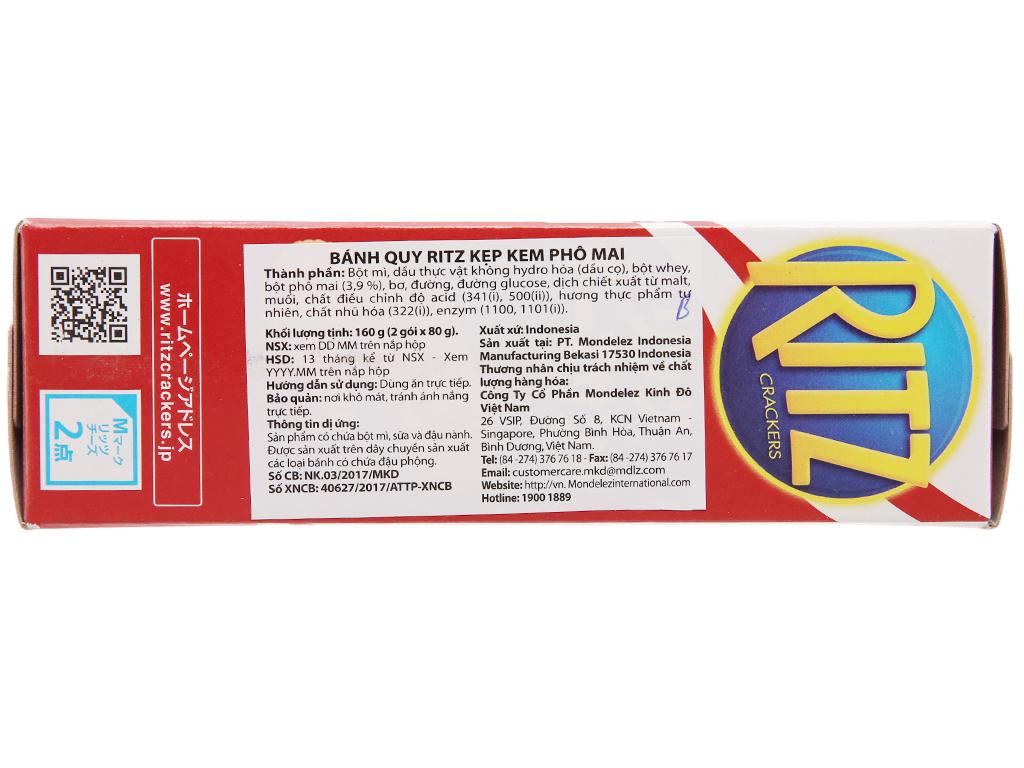 Bánh quy Kẹp kem phô mai Ritz Crackers hộp 160g 2