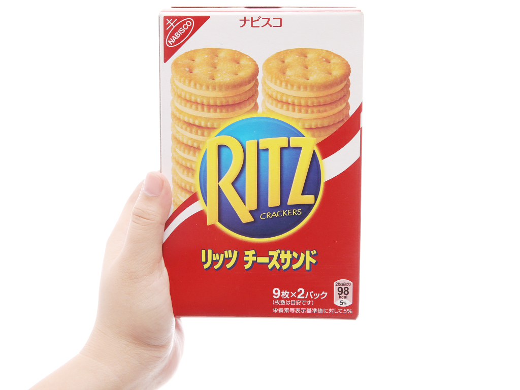 Bánh quy Kẹp kem phô mai Ritz Crackers hộp 160g 4