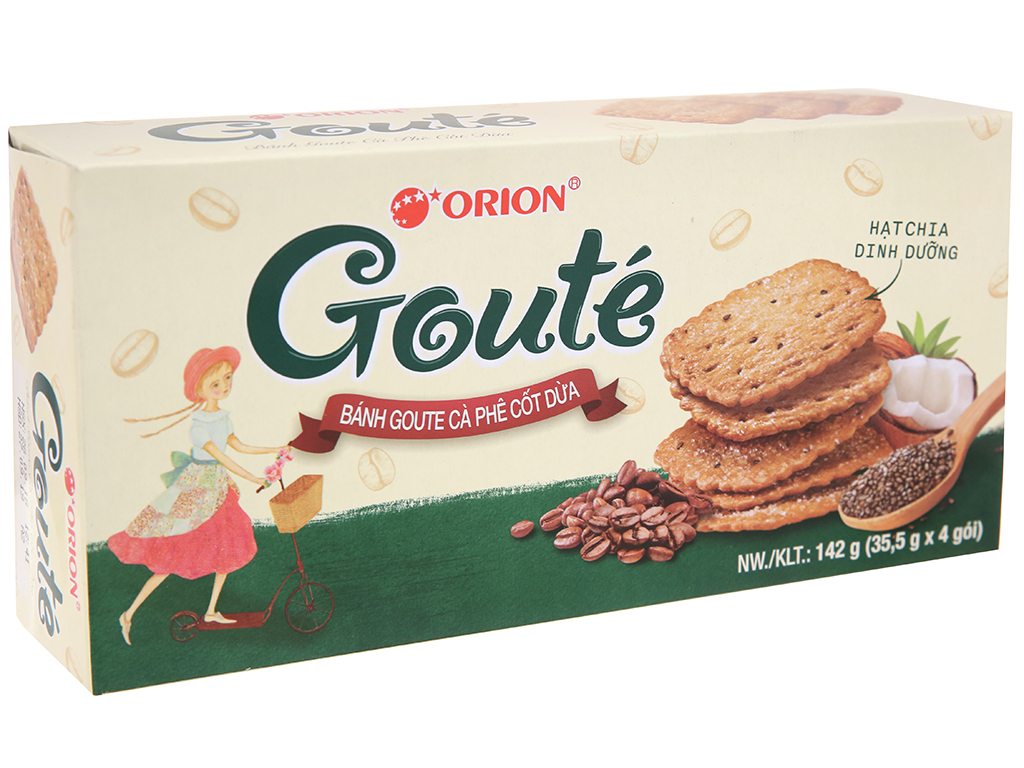 Bánh quy cà phê cốt dừa Gouté hộp 142g 2
