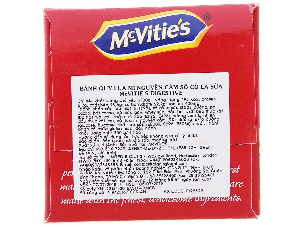 Bánh quy lúa mì nguyên cám socola sữa McVitie's Digestive hộp 200g 4
