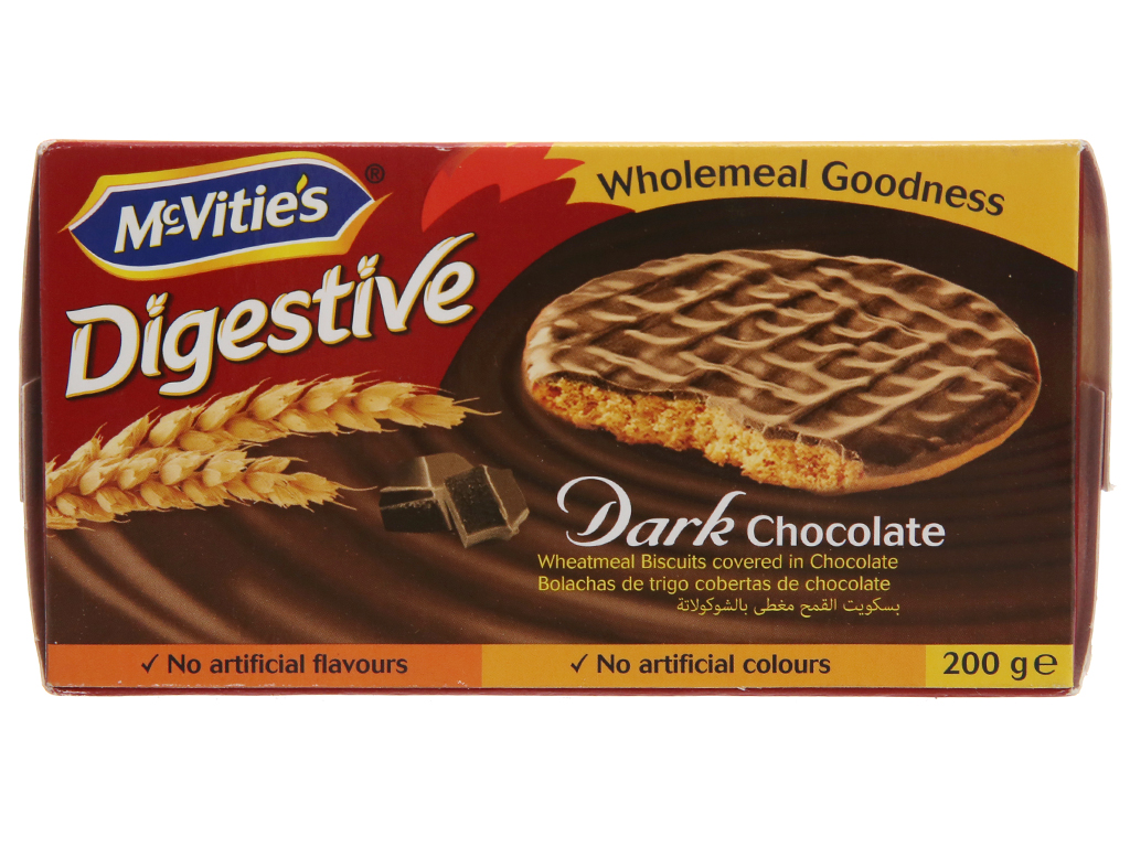 Bánh quy lúa mì nguyên cám nhân socola đen McVitie's Digestive hộp 200g 2