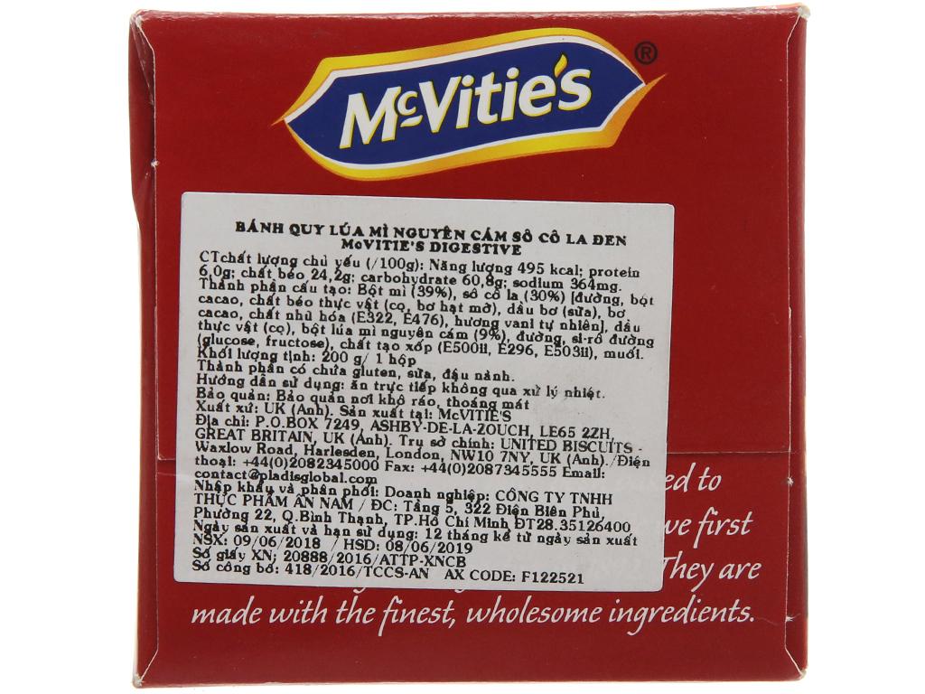 Bánh quy lúa mì nguyên cám nhân socola đen McVitie's Digestive hộp 200g 3
