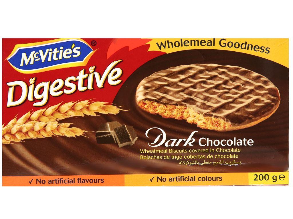 Bánh quy lúa mì nguyên cám socola đen McVitie's Digestive hộp 200g 1