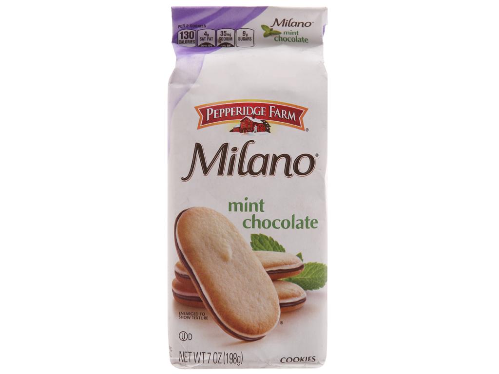 Bánh quy socola bạc hà Pepperidge Farm Milano gói 198g 2