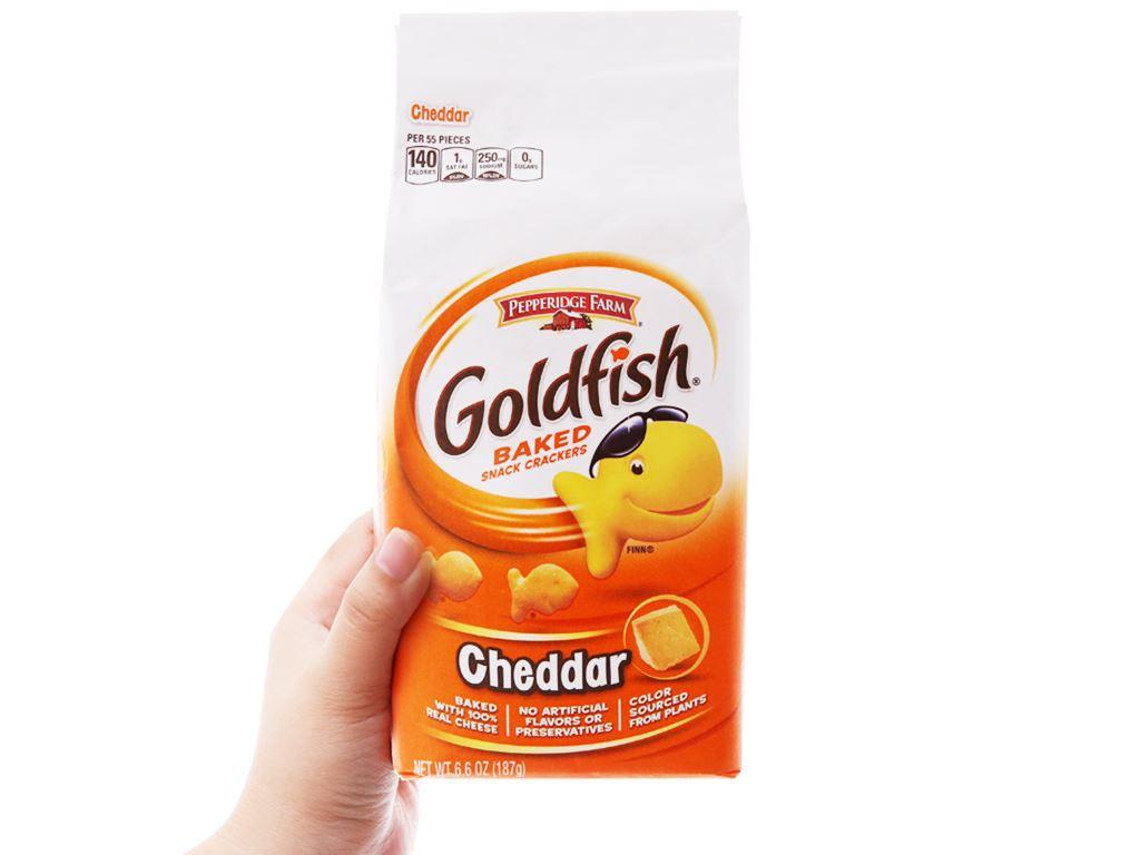 Bánh cá vị phô mai Cheddar Pepperidge Farm Goldfish gói 187g 3