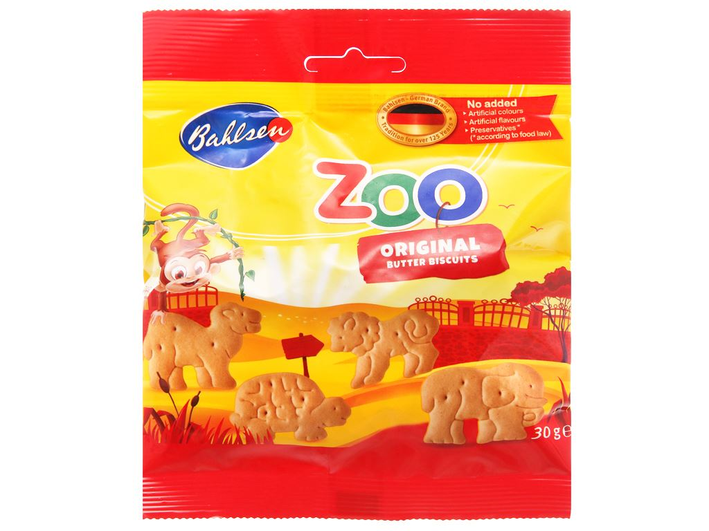 Bánh quy bơ hình thú Bahlsen Zoo gói 30g 1