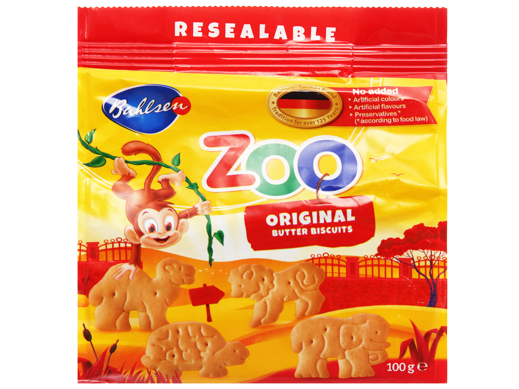 Bánh quy bơ hình thú Bahlsen Zoo gói 100g 6