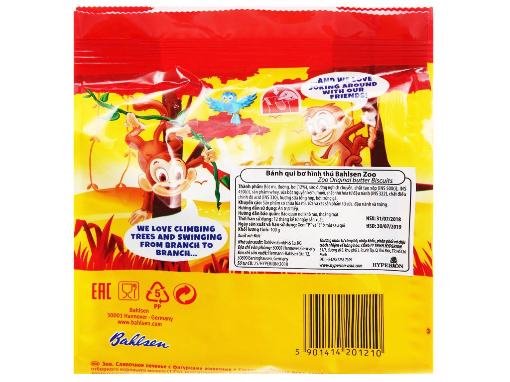Bánh quy bơ hình thú Bahlsen Zoo gói 100g 3