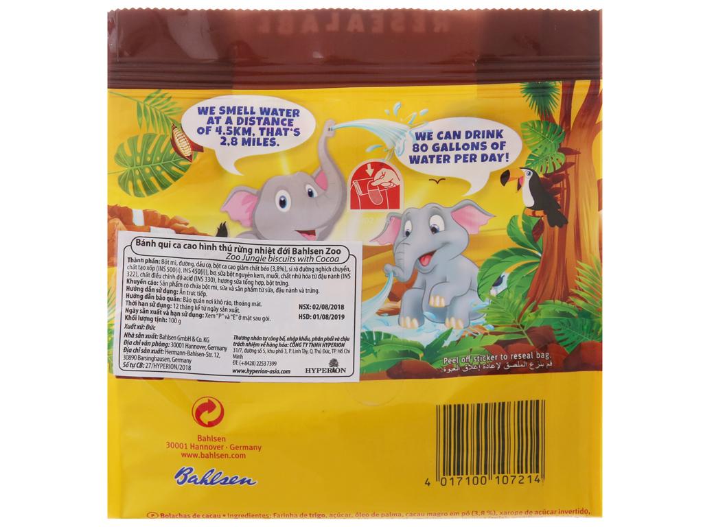 Bánh quy hình thú Bahlsen Zoo cacao 100g 3
