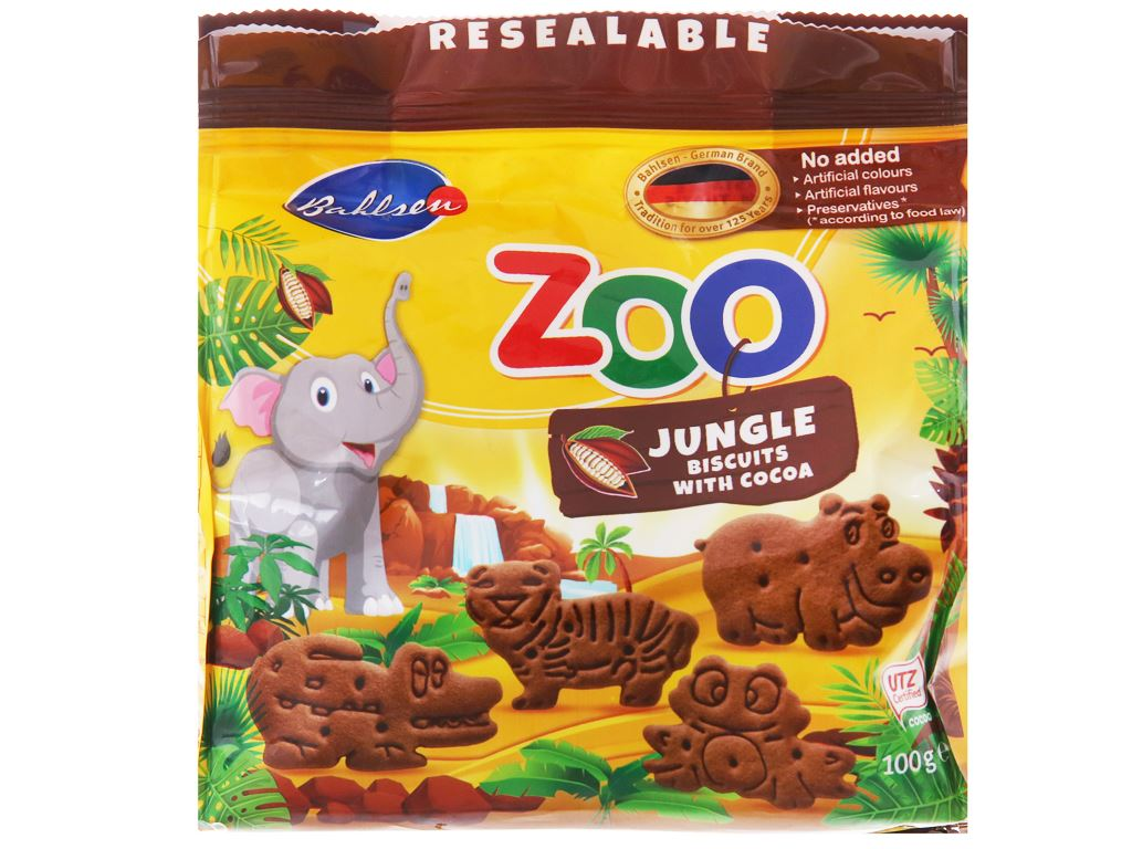 Bánh quy cacao hình thú Bahlsen Zoo gói 100g 6