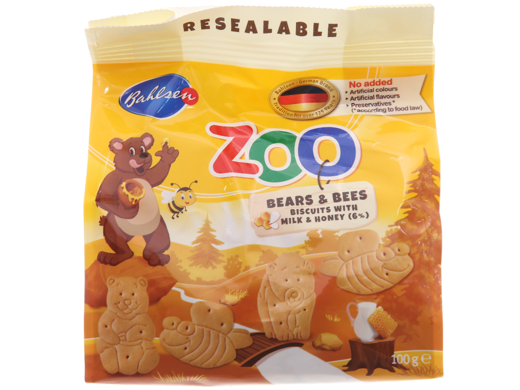 Bánh quy hình thú Bahlsen Zoo sữa và mật ong 100g 2