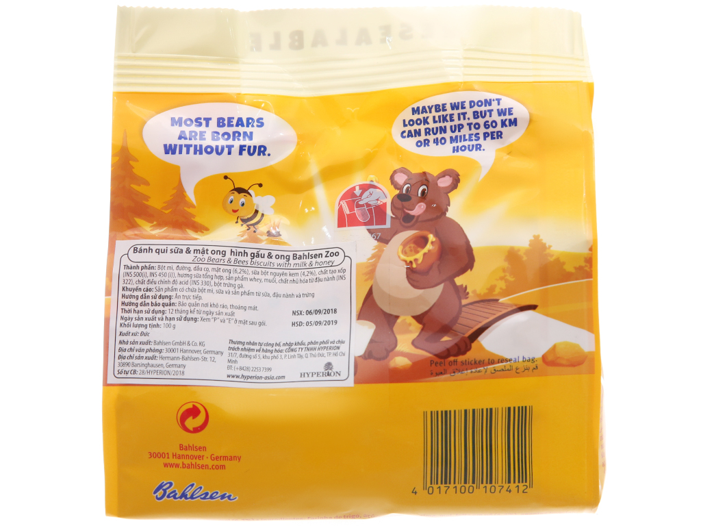 Bánh quy hình thú sữa và mật ong Bahlsen Zoo gói 100g 3