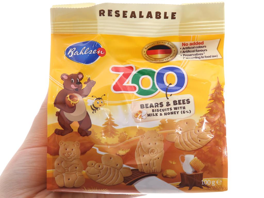 Bánh quy hình thú sữa và mật ong Bahlsen Zoo gói 100g 5
