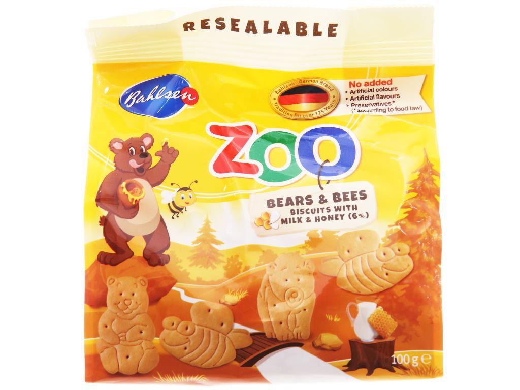Bánh quy hình thú sữa và mật ong Bahlsen Zoo gói 100g 1