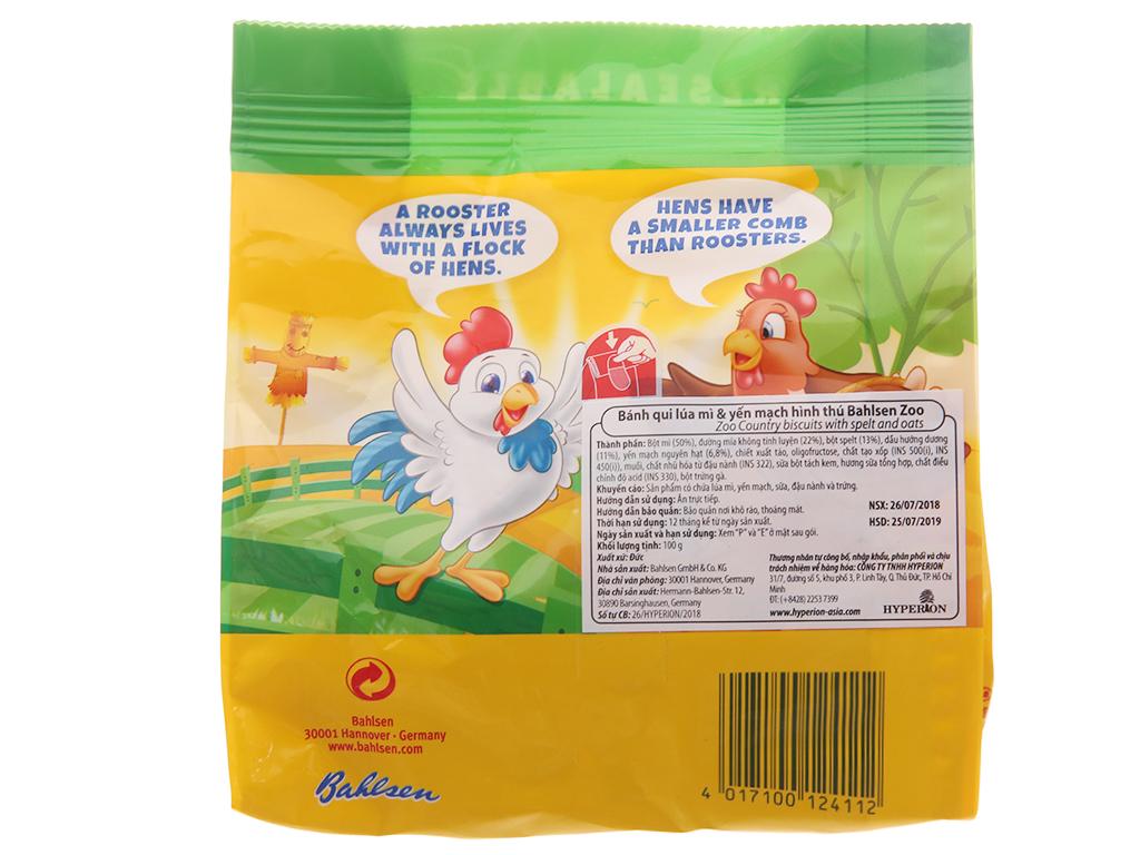 Bánh quy hình thú lúa mì và yến mạch Bahlsen Zoo gói 100g 3