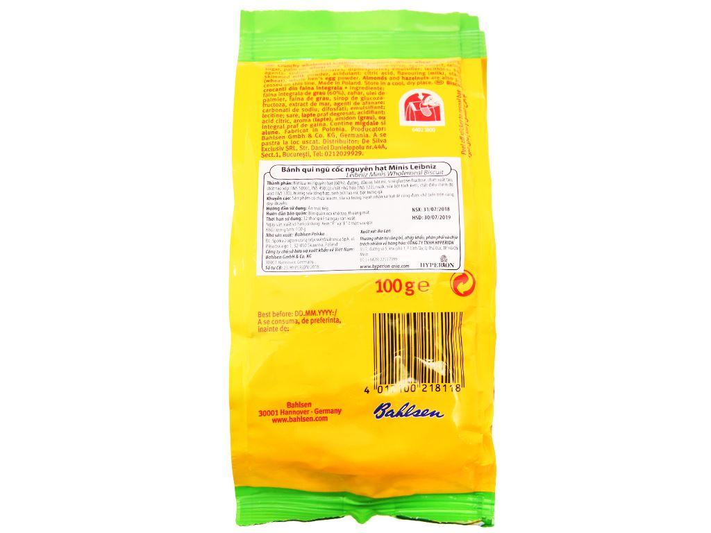 Bánh quy ngũ cốc nguyên hạt Minis Leibniz Bahlsen gói 100g 2