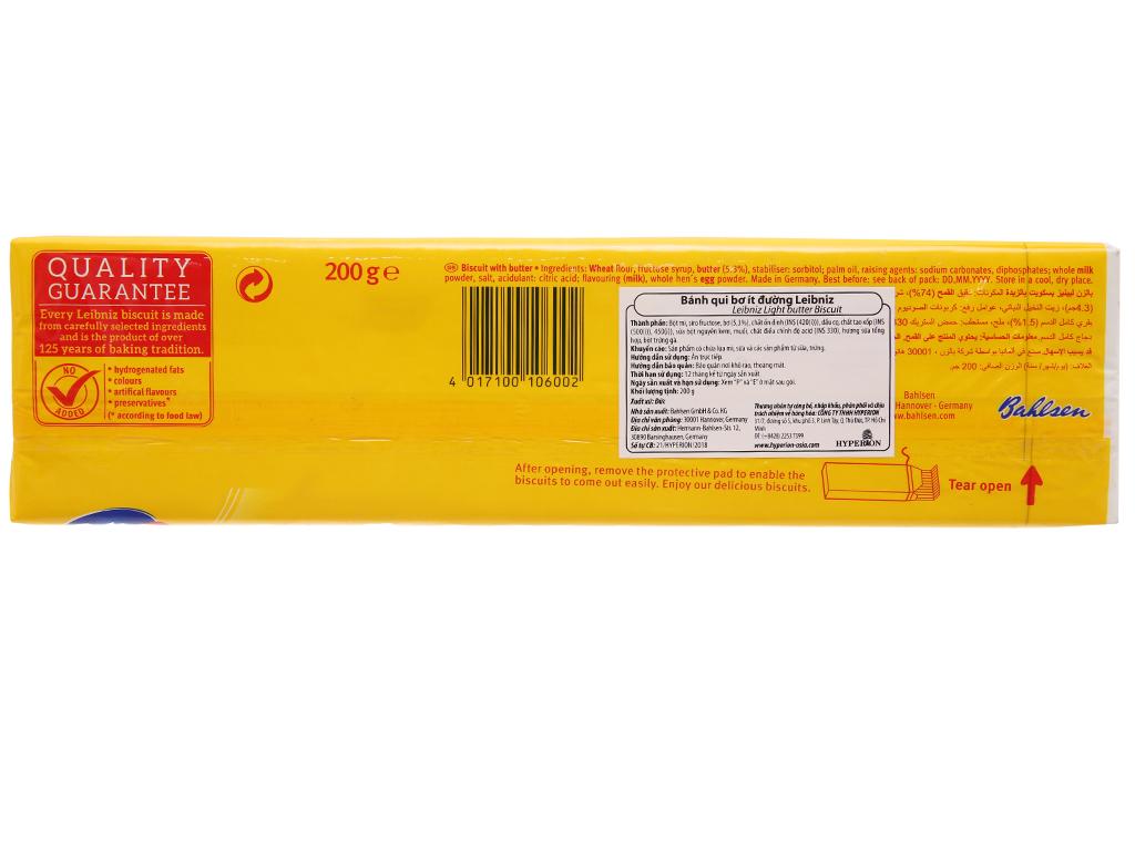 Bánh quy bơ ít đường Bahlsen Leibniz hộp 200g 3