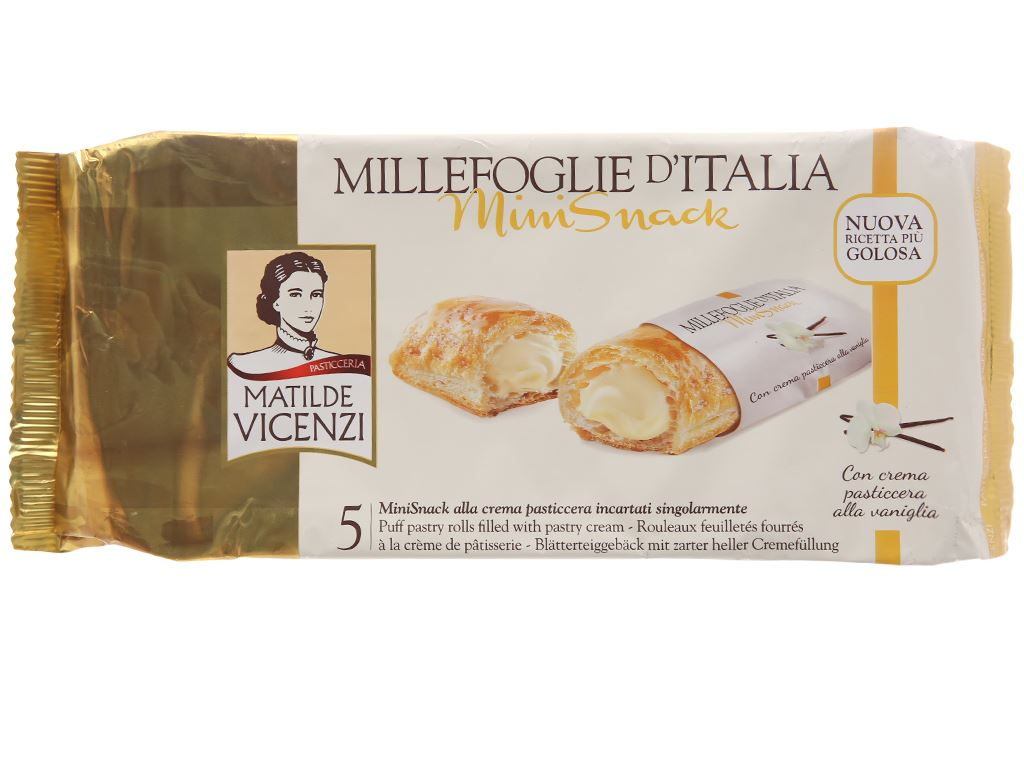 Bánh Puff Pastry cuộn kem Matilde Vicenzi MiniSnack gói 125g 2