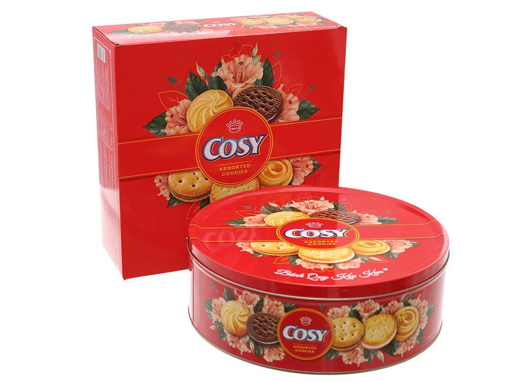 Bánh quy kẹp kem thập cẩm Cosy hộp thiếc 840g 1