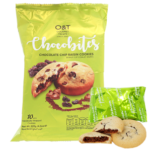Bánh quy socola chip và nho khô O&T Chocobites gói 120g