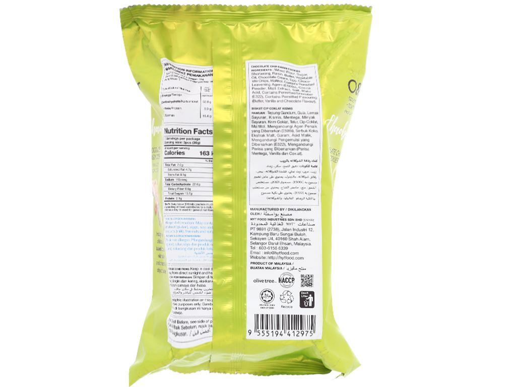 Bánh quy socola chip và nho khô O&T Chocobites gói 120g 2