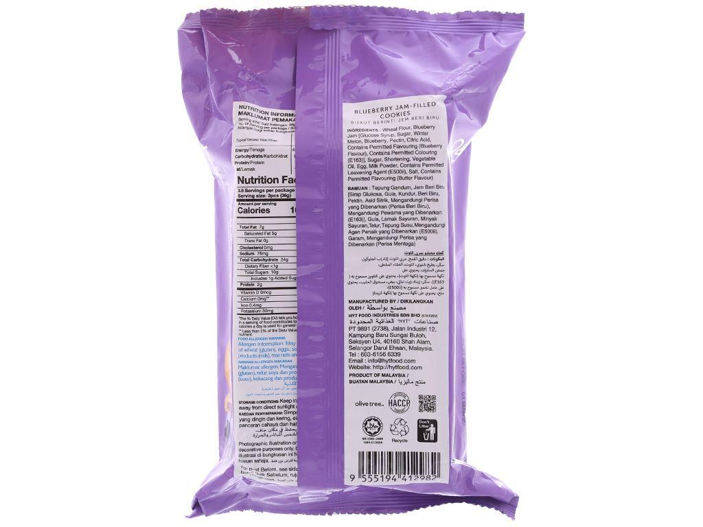 Bánh quy nhân mứt việt quất O&T gói 120g 2
