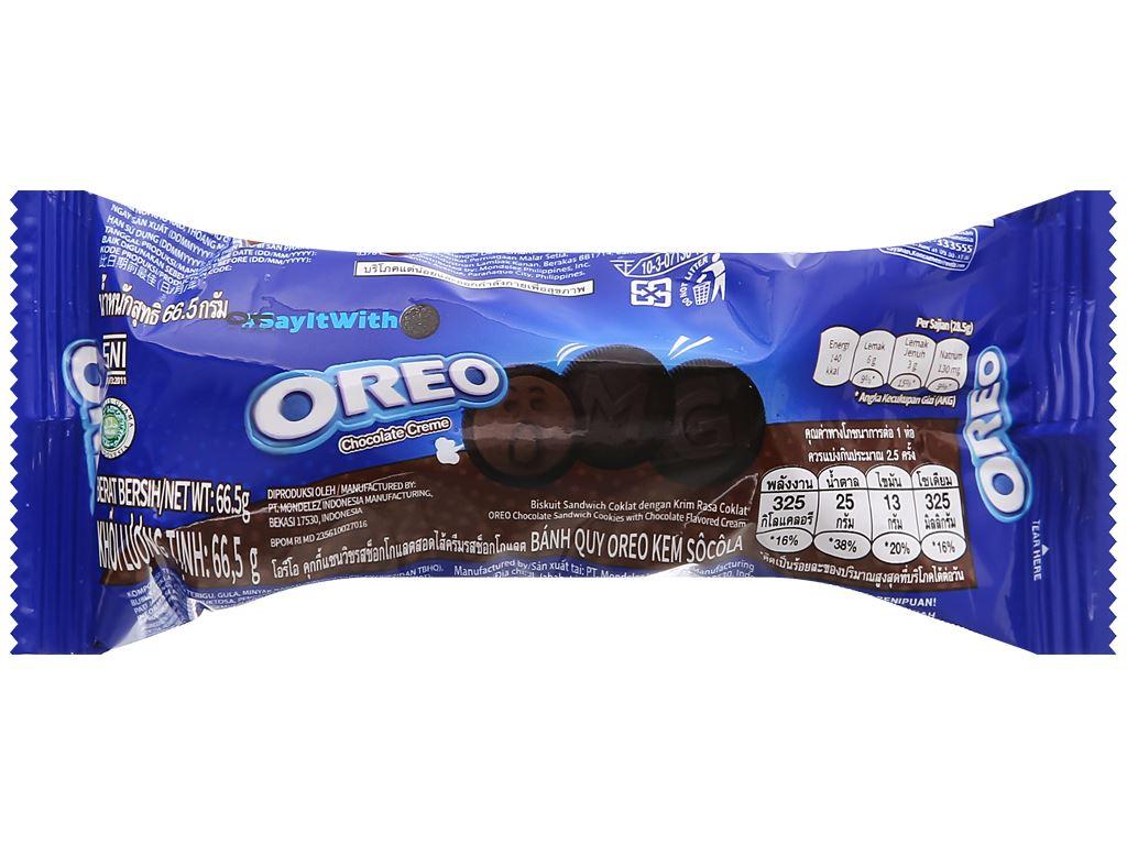 Bánh quy Oreo kem socola gói 66.5g 6