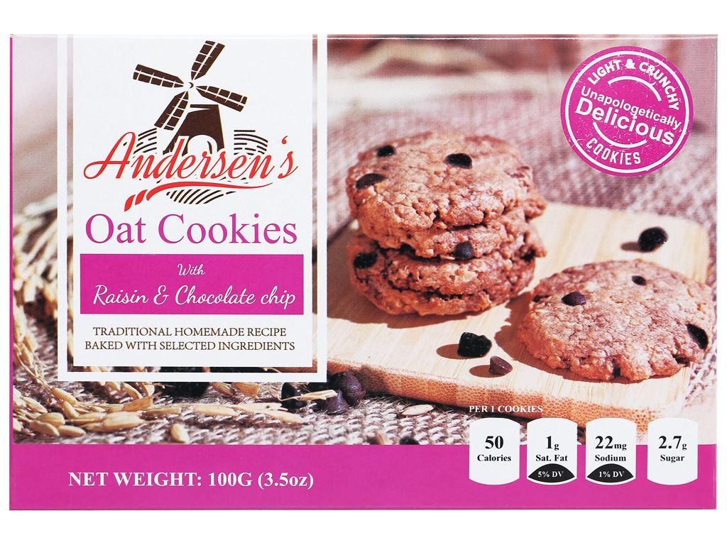 Bánh quy nho khô và choco chips Andersen's hộp 100g 1