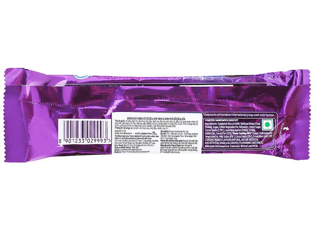 Bánh quy Oreo vỏ socola kẹp kem vị vani phủ socola sữa gói 50g 2