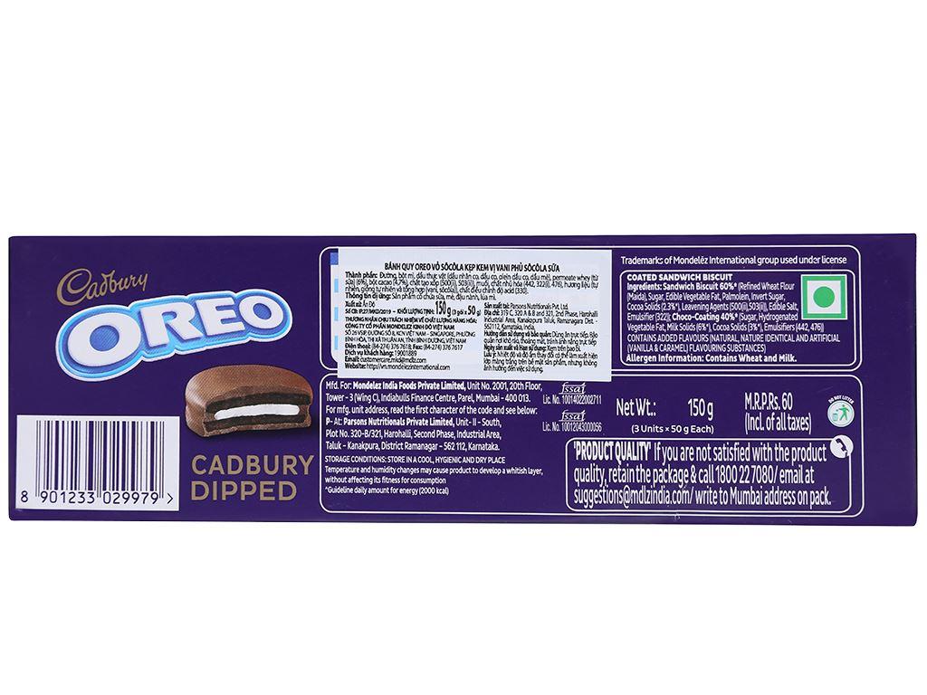 Bánh quy Oreo vỏ socola kẹp kem vị vani phủ socola sữa hộp 150g 2