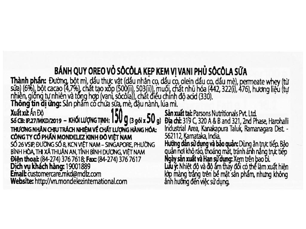 Bánh quy Oreo vỏ socola kẹp kem vị vani phủ socola sữa hộp 150g 3