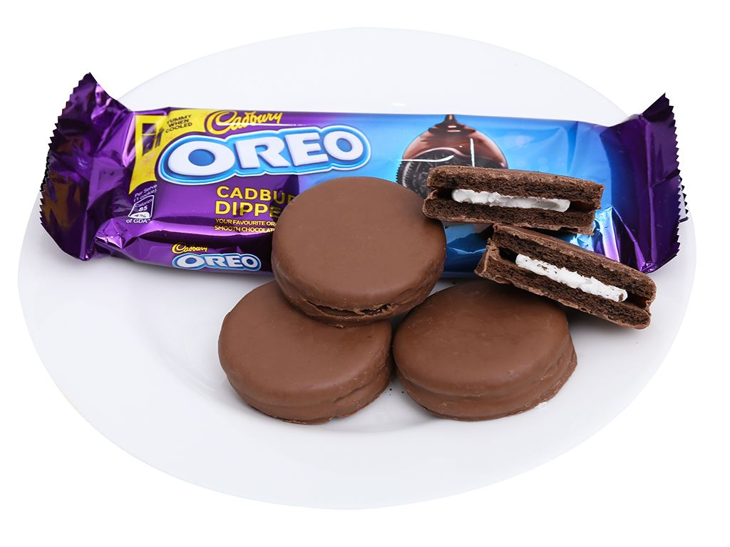 Bánh quy Oreo vỏ socola kẹp kem vị vani phủ socola sữa hộp 150g 5
