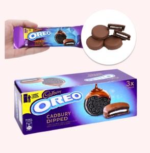 Bánh quy Oreo vỏ socola kẹp kem vị vani phủ socola sữa hộp 150g